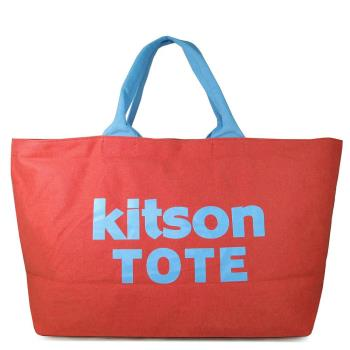 Kitson LA 帆布大托特旅行包(紅藍雙色,特大款)