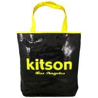 Kitson LA 雙色亮片大肩背包(黑底黃色字)