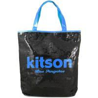 Kitson LA 雙色亮片大肩背包(黑底藍字)