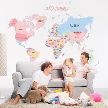 任-時尚壁貼 - 彩色世界地圖