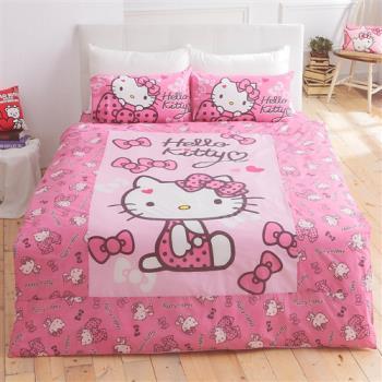 HO KANG 三麗鷗授權床包被套單人三件式組-KT蝴蝶甜心粉