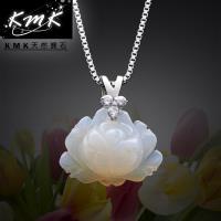 KMK天然寶石~花開富貴~ 天然白玉髓~項鍊