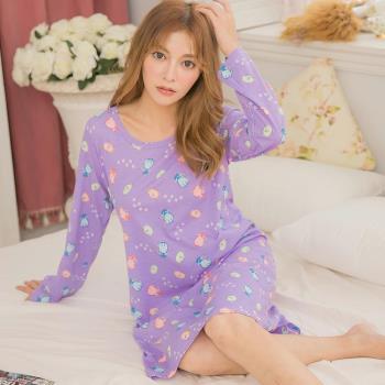 lingling日系 貓咪掌印棉質長袖連身裙洋裝睡衣(浪漫紫)全尺碼