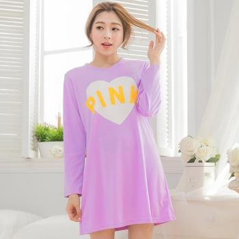 lingling日系 PINK愛心棉質長袖連身裙睡衣(共二色)全尺碼