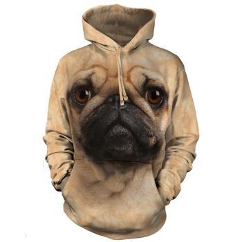 【摩達客】 美國進口 The Mountain 巴哥犬臉 長袖連帽T恤