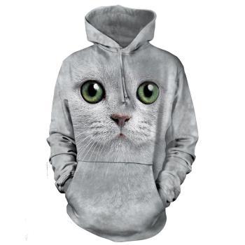 【摩達客】 美國進口 The Mountain 綠眼貓臉 長袖連帽T恤