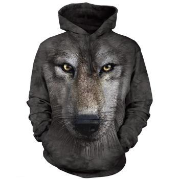 【摩達客】 美國進口 The Mountain 狼臉 長袖連帽T恤