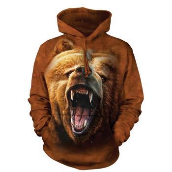 【摩達客】 美國進口 The Mountain 棕熊怒吼 長袖連帽T恤