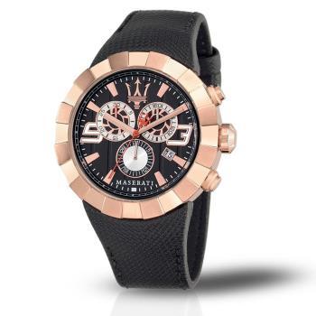 【Maserati Time】TRIDENTE 三眼計時玫瑰金腕錶 R8871603002(三眼 計時 玫瑰金 瑪莎拉蒂 時尚 風格)