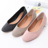 bellwink【b9704】圓方弧形頭平低包鞋-黑色/灰色/粉色