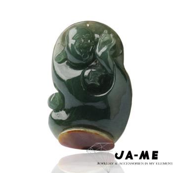 JA-ME天然A貨翡翠滿綠伴紅翡彌勒財神玉墬