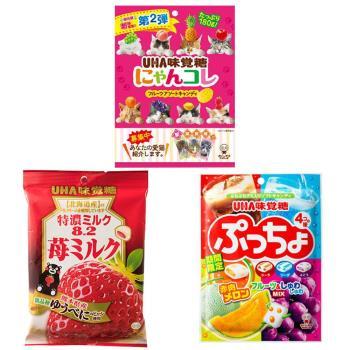 [UHA]日本味覺糖特濃牛奶糖(熊本草莓味)/貓咪包裝水果糖/綜合汽水水果軟糖(6包/組)