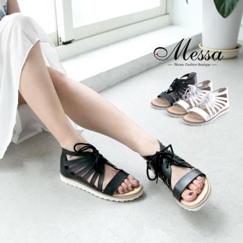 【Messa米莎專櫃女鞋】MIT 羅馬假期鏤空繫帶內真皮平底涼鞋-三色