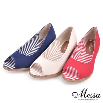 【Messa米莎專櫃女鞋】MIT 仲夏配色條紋內真皮魚口楔型涼鞋-三色