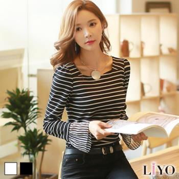 上衣女條紋雪紡袖針織T恤LIYO理優E732020