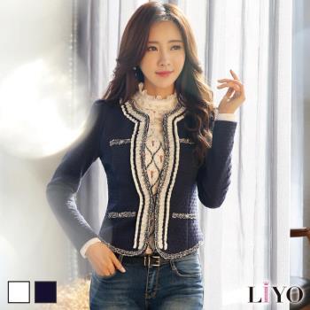 外套小香風名媛公主袖短版小外套LIYO理優E738003