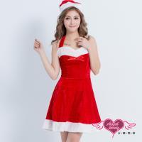 天使霓裳 搖滾風潮 聖誕舞會角色扮演露肩連身裙 紅F  KR1081