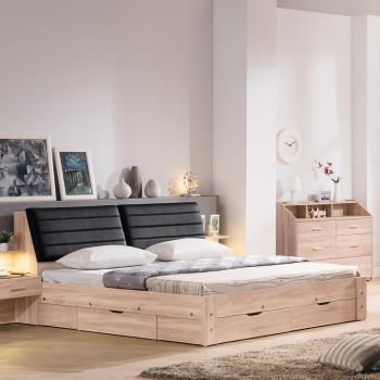Bernice-盧斯卡6尺雙人加大床組(床頭+抽屜床底)(不含床墊)