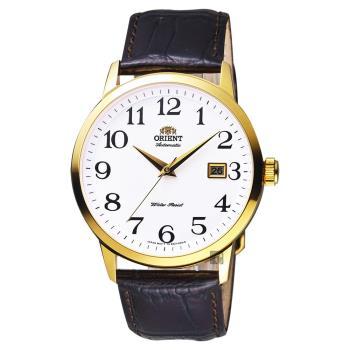 ORIENT東方 時尚玩家手錶 白x金框x咖啡 41mm FER27005W