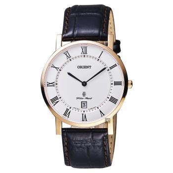 ORIENT東方 羅馬復刻手錶 白x玫塊金框 38mm FGW0100EW