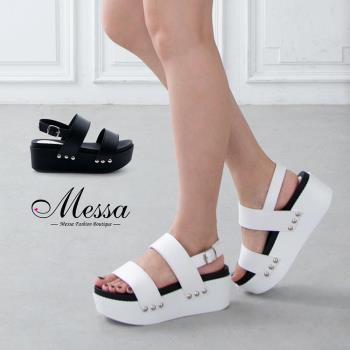 【Messa米莎專櫃女鞋】MIT 韓系雙寬帶個性鉚釘厚底鬆糕涼鞋-二色