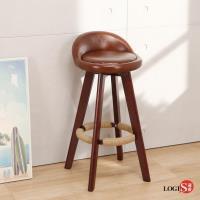 【LOGIS】生活Free美學旋轉實木高腳吧台椅 吧檯椅 高腳椅【A525】