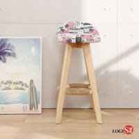 【LOGIS】USA美國風生活美學旋轉實木高腳吧台椅 吧檯椅 餐椅 A529
