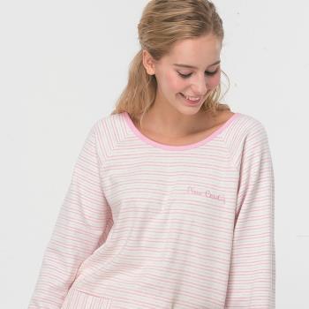 【皮爾卡登】粉彩條紋兩件式居家服(藍)