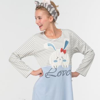 【皮爾卡登】萌兔兔連身居家服(藍)