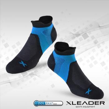 任-LEADER ST-02 男款X型繃帶 加厚耐磨避震短襪 黑藍