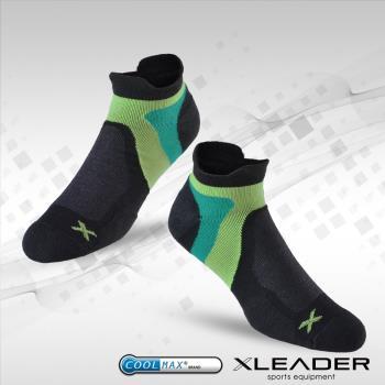 任-LEADER ST-02 男款X型繃帶 加厚耐磨避震短襪 黑綠