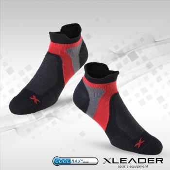 任-LEADER ST-02 男款X型繃帶 加厚耐磨避震短襪 黑紅
