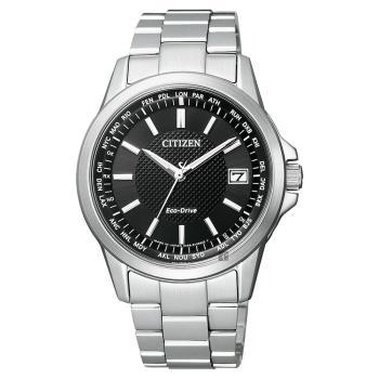 CITIZEN 星辰 限量 光動能電波萬年曆手錶 黑x銀 39mm CB1090-59E