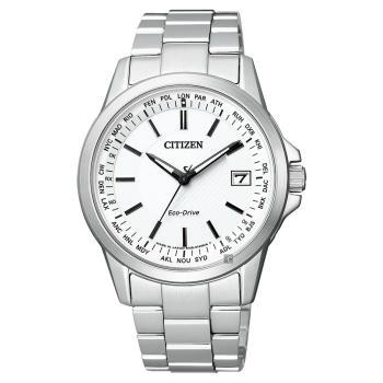 CITIZEN 星辰 限量 光動能電波萬年曆手錶 白x銀 39mm CB1090-59A