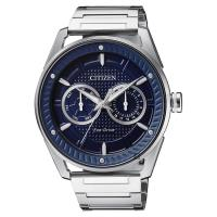 CITIZEN 星辰 光動能渦輪日曆手錶 藍x銀 42mm BU4021-84L