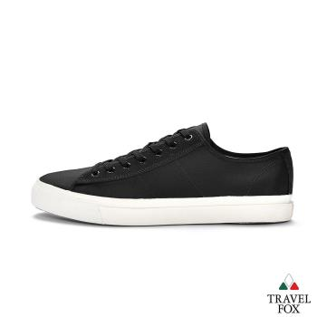 TRAVEL FOX(女) 低統帆布平底休閒鞋-黑