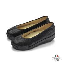 TRAVEL FOX(女) 輕量上班楔型鞋休閒鞋-黑