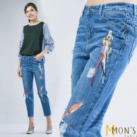 MONS 設計款刺繡珠飾顯瘦牛仔褲