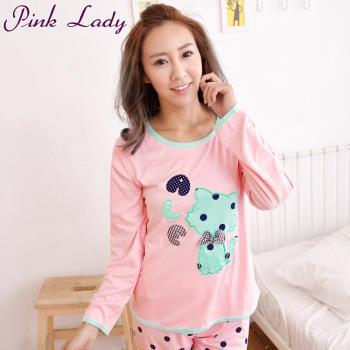 【PINK LADY】點點俏皮貓居家棉柔型成套睡衣1506-1(粉)
