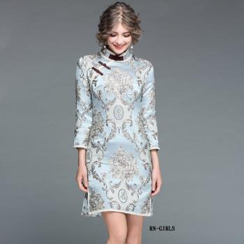 RN-girls-精品中國風改良式旗袍盤扣刺繡長袖洋裝小禮服
