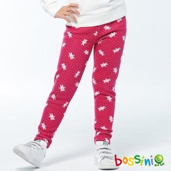 bossini女童-印花刷毛貼身褲01酒紅