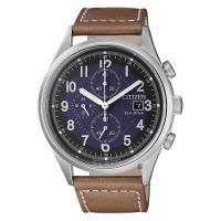 CITIZEN 星辰 Chronograph 光動能計時手錶 藍x棕 42mm CA0621-05L