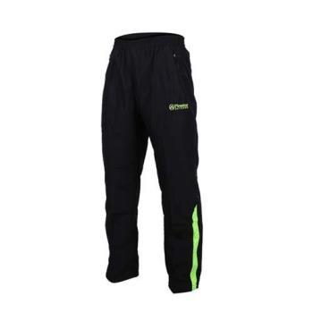 FIRESTAR 男防潑水防風長褲-慢跑 路跑 網布內裡 運動長褲 黑螢光綠