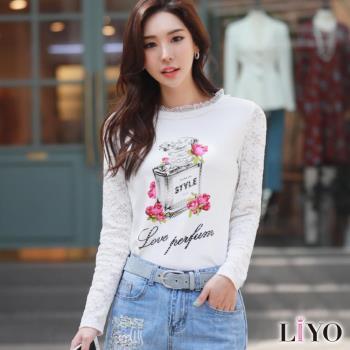 上衣小香風手工燙鑽蕾絲拼接袖韓風T恤 LIYO理優E742030