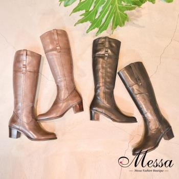 【Messa米莎專櫃女鞋】帥氣皮帶釦全牛皮中跟高筒靴-二色