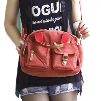 【Acorn*橡果】韓系多口袋休閒帆布斜背包6518N(橘色)