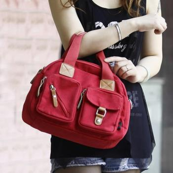 【Acorn*橡果】韓系多口袋休閒帆布斜背包6518N(紅色)