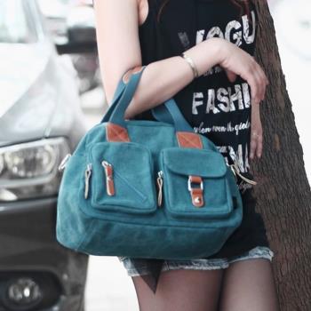 【Acorn*橡果】韓系多口袋休閒帆布斜背包6518N(藍色)