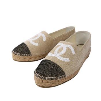 CHANEL 亮片LOGO棉麻草編鉛筆/漁夫鞋(米/黑)(39)CH51190005
