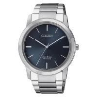 CITIZEN 星辰 鈦金屬光動能極簡手錶 藍x銀 41mm AW2020-82L